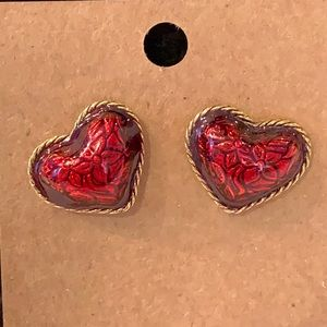 Avon red enamel puffy heart elegant earrings